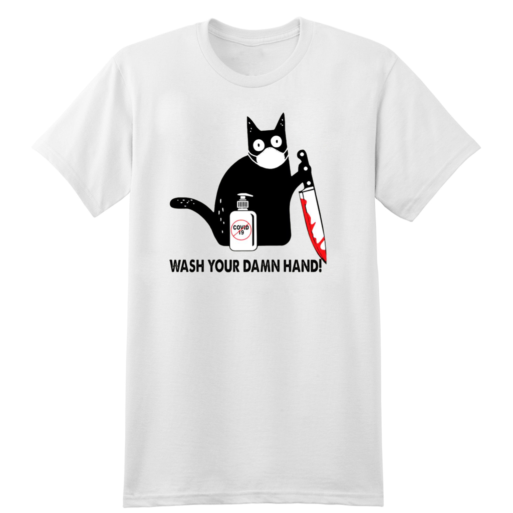 Black Cat Wash your damn hand Official T-Shirt