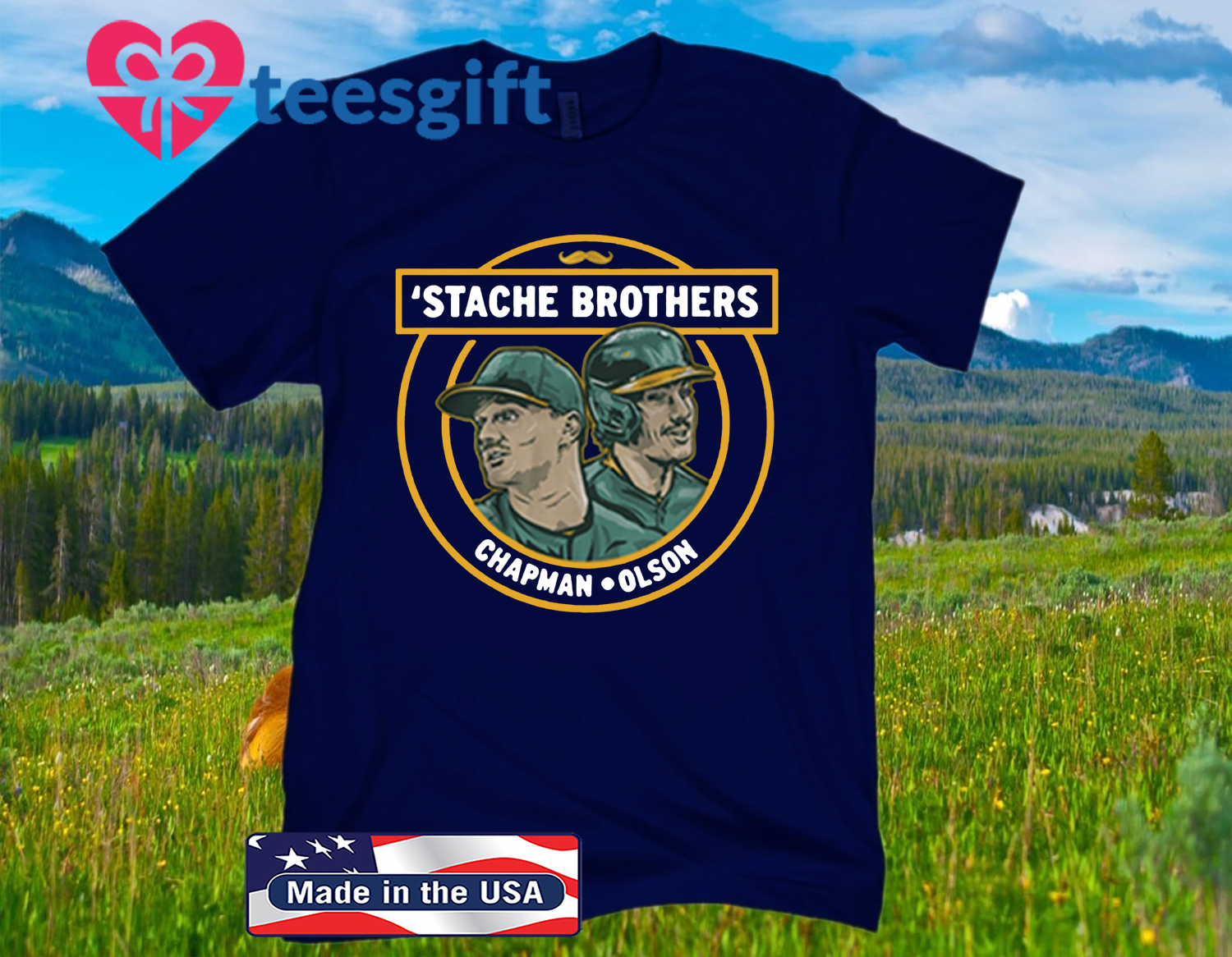 'Stache Brothers T-Shirt, Matt Chapman and Matt Olson