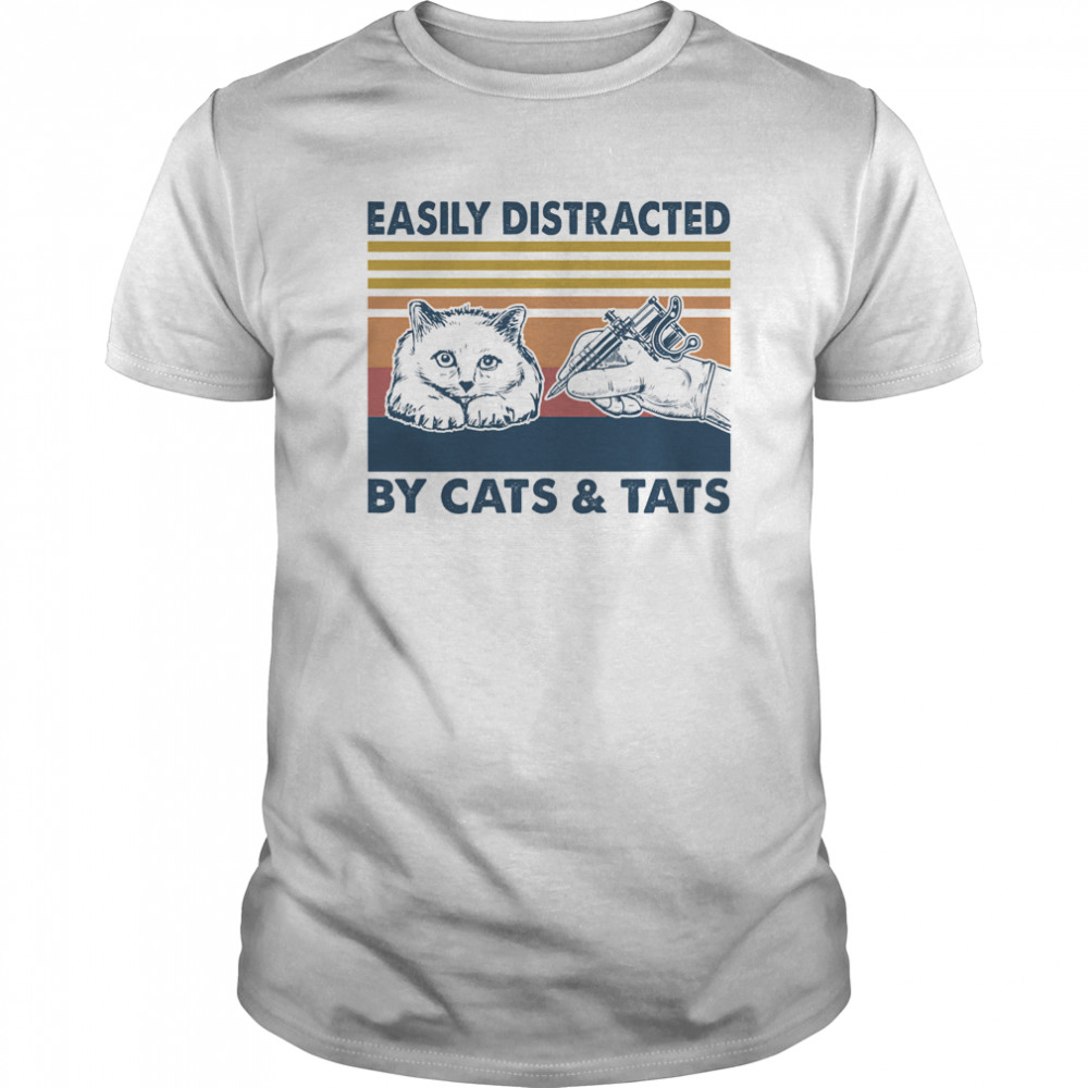 Easily Distracted By Cats And Tats Tattooist Vintage Classic Men's T-shirt