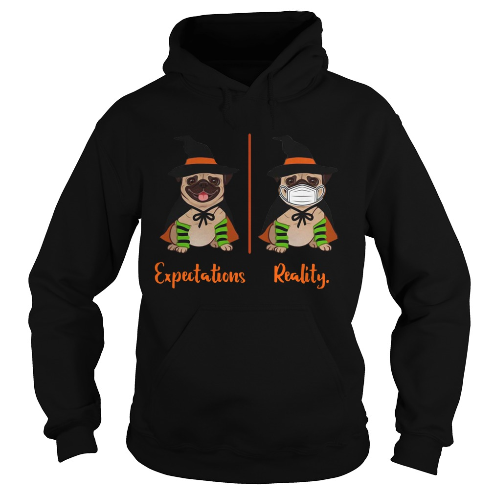 Pug Dog Witch Expectations Reality Halloween  Hoodie