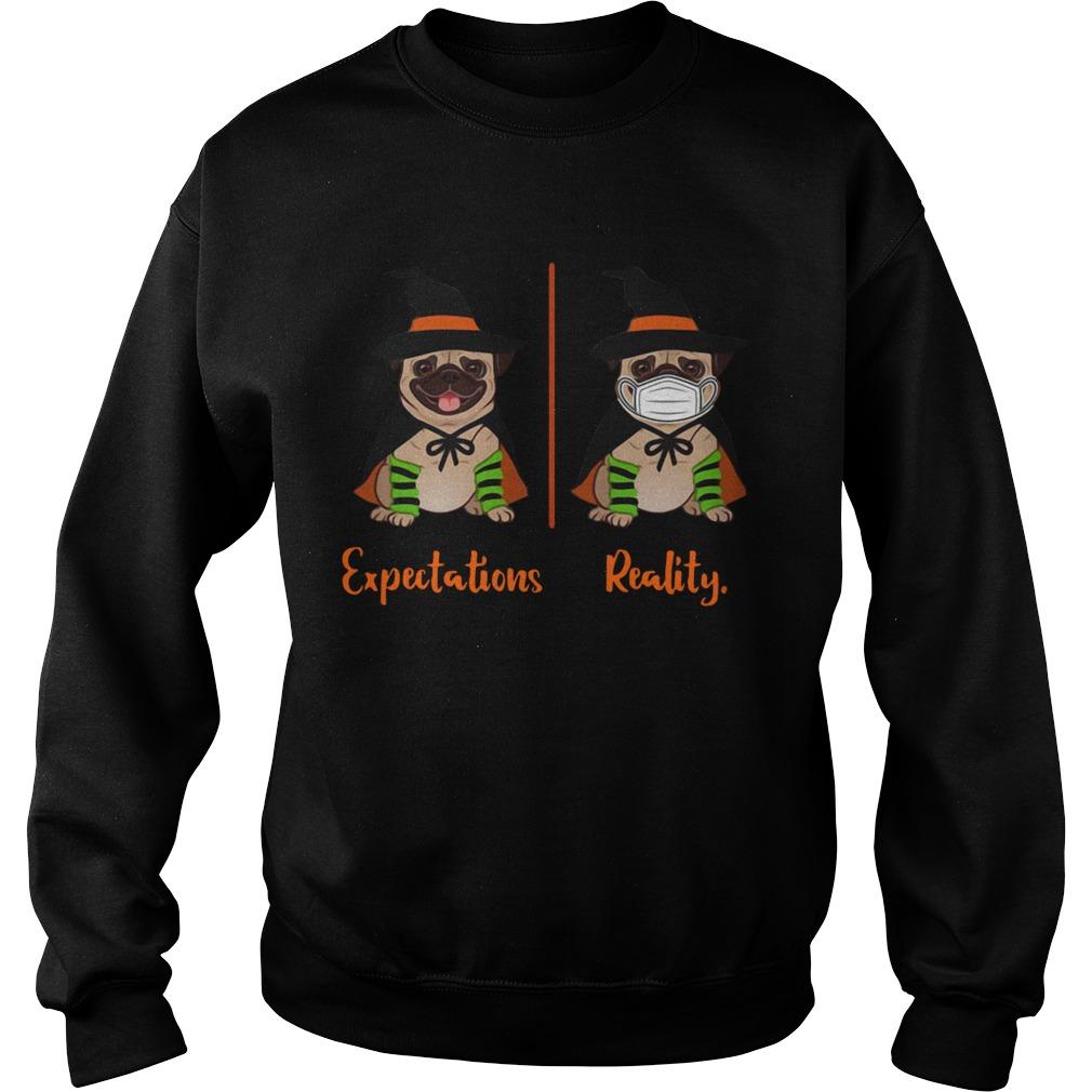 Pug Dog Witch Expectations Reality Halloween  Sweatshirt