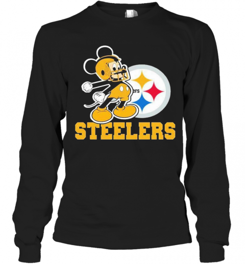 Mickey Mouse Pittsburgh Steelers Football Logo Team T-Shirt Long Sleeved T-shirt
