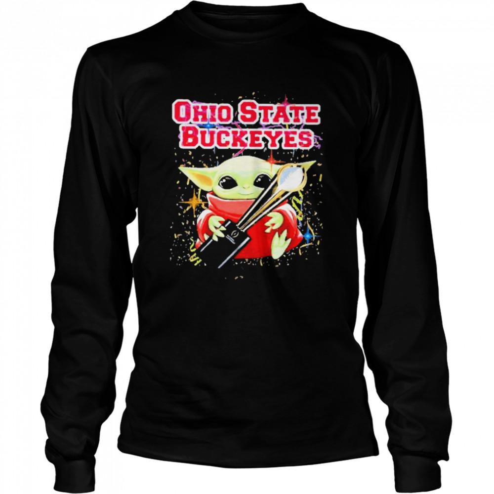 Baby yoda hug ohio state buckeyes 2021  Long Sleeved T-shirt