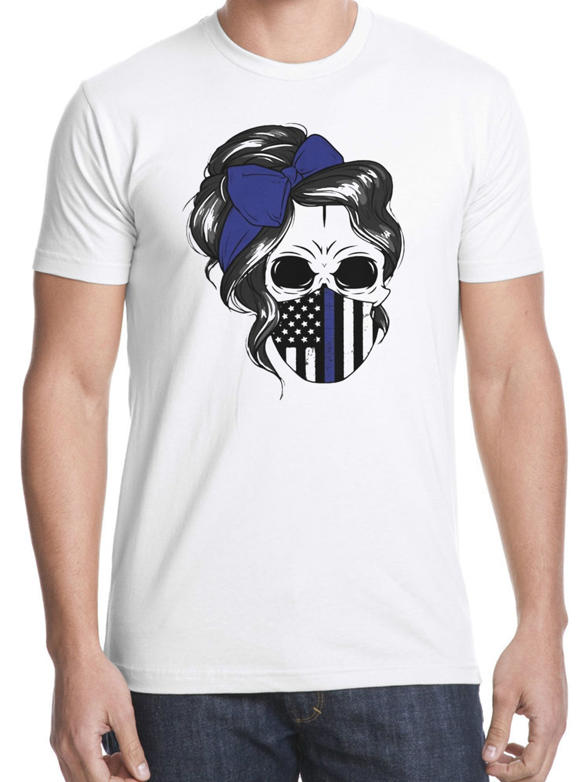 Skull Woman Face Mask American Flag Classic T-Shirts