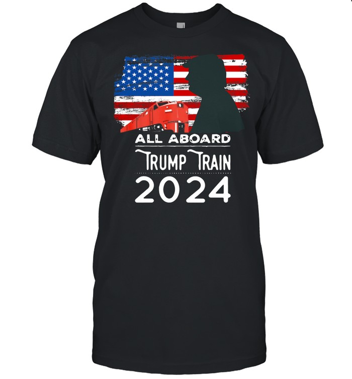 American Flag With All Aboard Trump Train 2021 shirt Classic Men's T-shirt