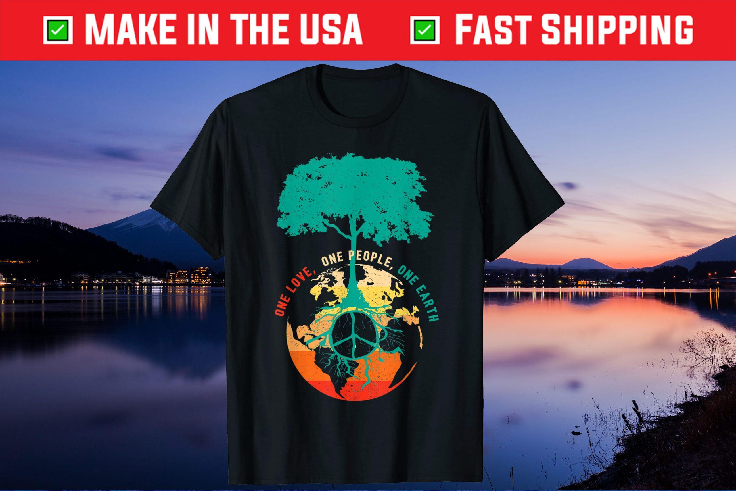 World Peace Tree Love People Earth Day 60s 70s Hippie Retro Us 2021 T-Shirt